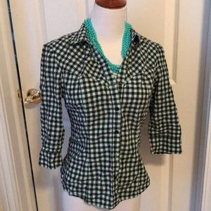 Pale turquois and black checker button down